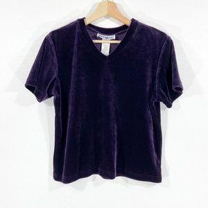 90s Crop Velour Short Sleeve Purple Shirt Size L